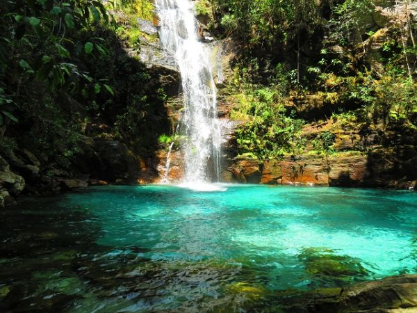 Cachoeira Santa Bárbara, em Cavalcante. Uma das mais bonitas da Chapada