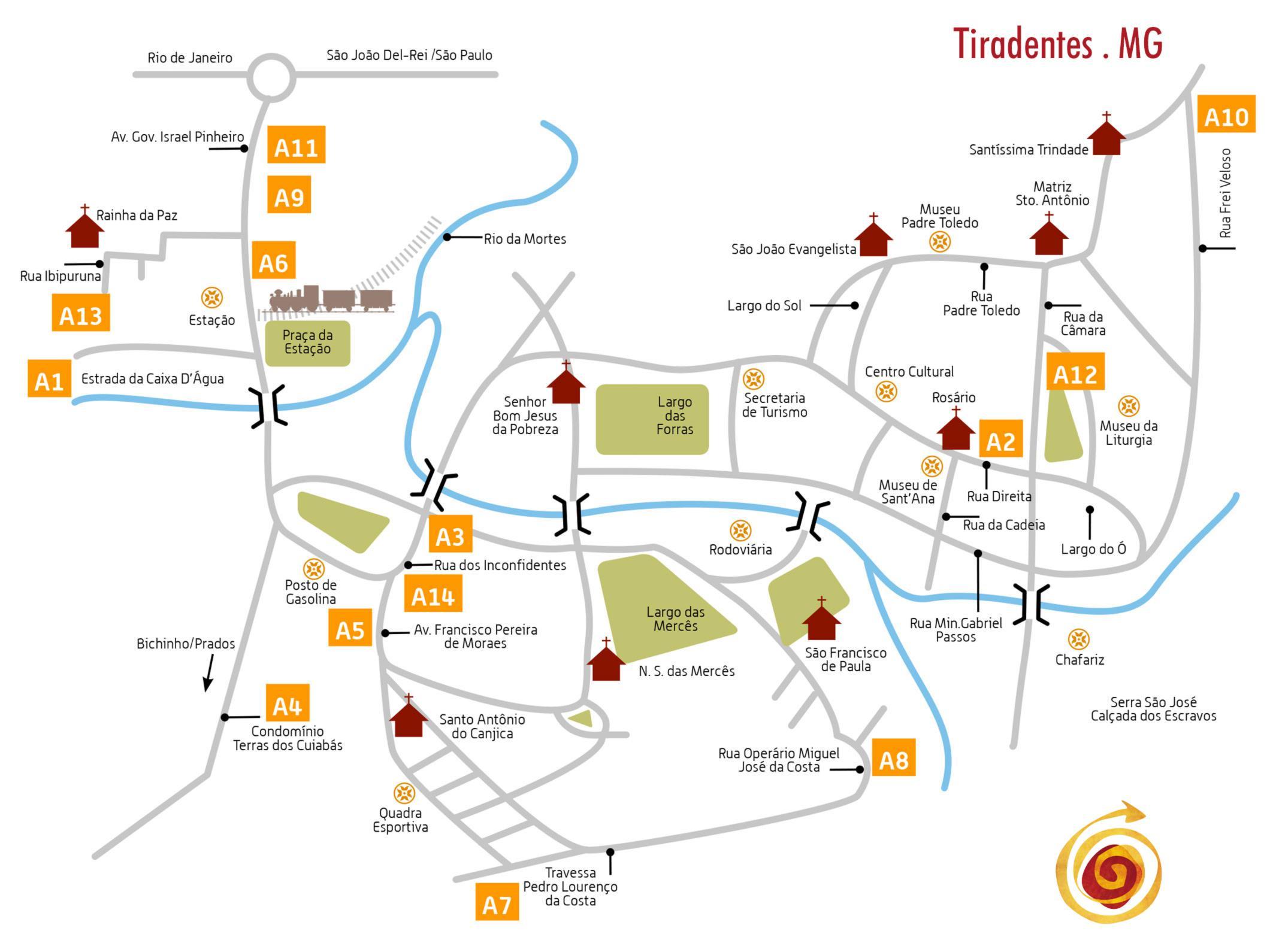Mapa Rota dos Ateliers, Passeios imperdíveis em Tiradentes