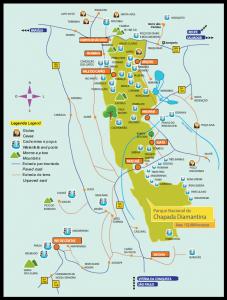 Mapa do Parque Nacional da Chapada Diamantina